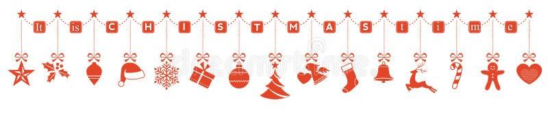 It& x27; s-Weihnachtszeit, hängende Verzierungsgrenze lizenzfreie abbildung