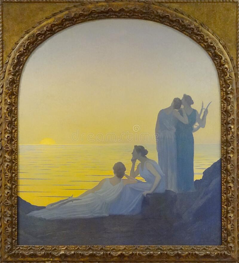 """Soir antique"", Alphonse Osbert, 1908. stock photo"