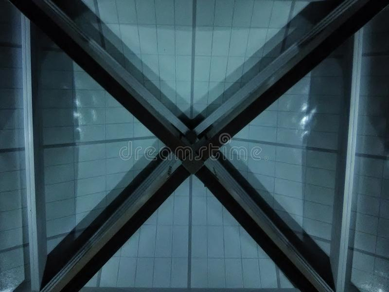 The x in ceiling structure royalty free stock photography