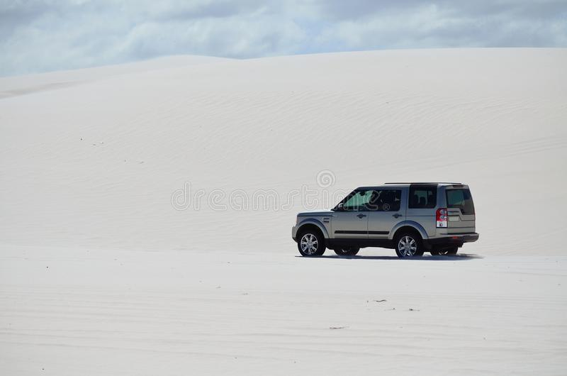 4x4 driving out in sand royalty free stock photos