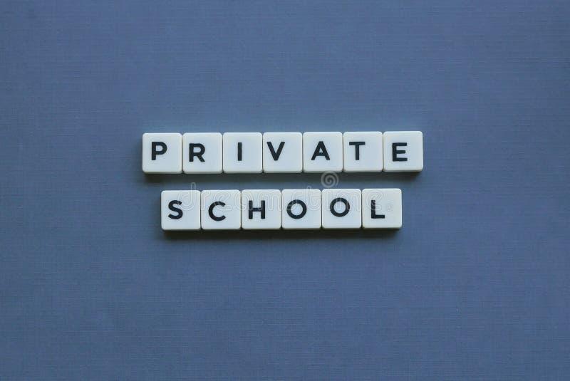 &-x27; Szkoła Płatna &-x27; słowo robić kwadrata listu słowo na popielatym tle zdjęcie royalty free