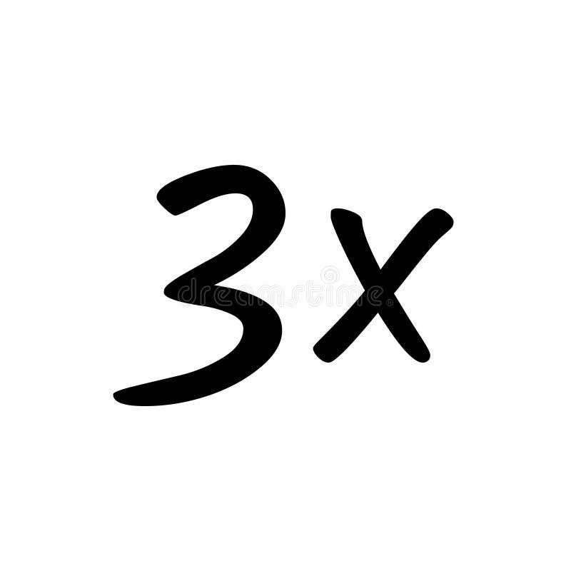 3x-tekenpictogram stock illustratie