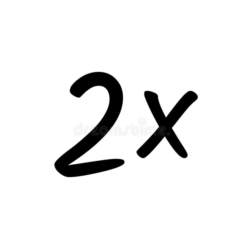 2x-tekenpictogram vector illustratie