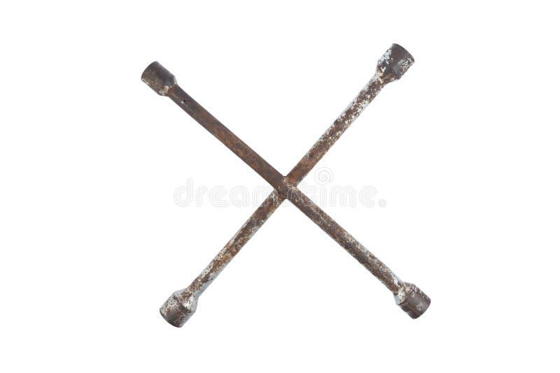 X-tipo velho e usado chave de soquete isolada no fundo branco Trajeto de grampeamento, trajeto salvar Ferramenta dos trabalhadore imagem de stock