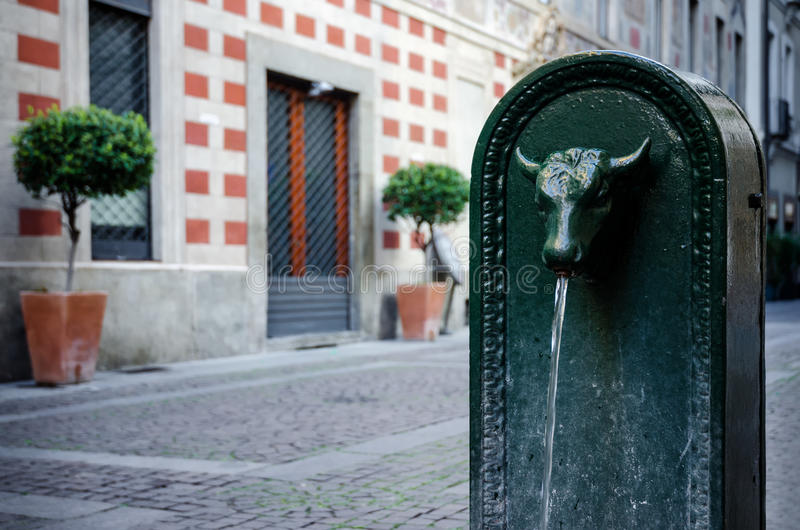 'Toret', typical public fountain of Turin (Italy) stock photography