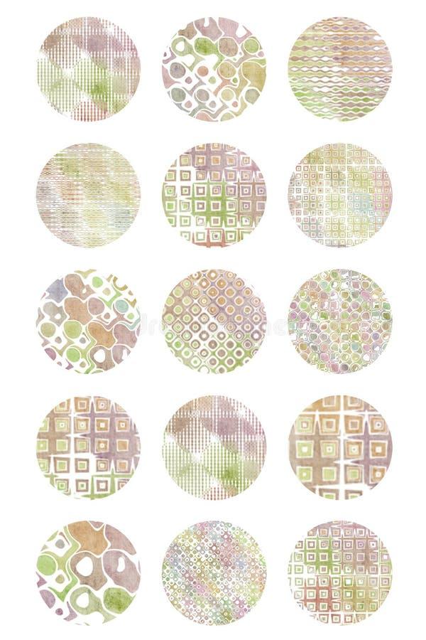 4x6 zaokrągla okregów retro round wzorzystych wizerunki royalty ilustracja