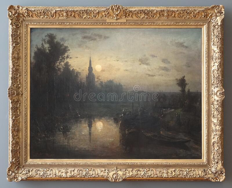 """"""" ; Clair de lune à Overschie"""" ; , Johan Barthold Jongkind, 1855 photo libre de droits"""