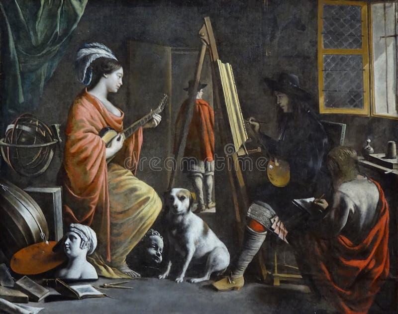 """"""" ; L' ; atelier"""" ; , Mathieu Le Nain, vers 1655 Poughkeepsie, Frances Lehman Loeb Art Center image libre de droits"""