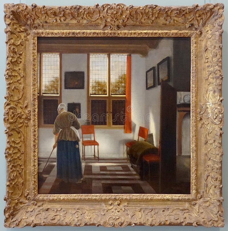 """ ; La balayeuse"" ; , Pieter Janssens Elinga, vers 1670 photos libres de droits"