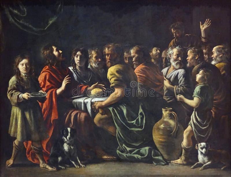 """"""" ; La Cène"""" ; , Mathieu Le Nain, vers 1655 Musée du Louvre photo stock"""