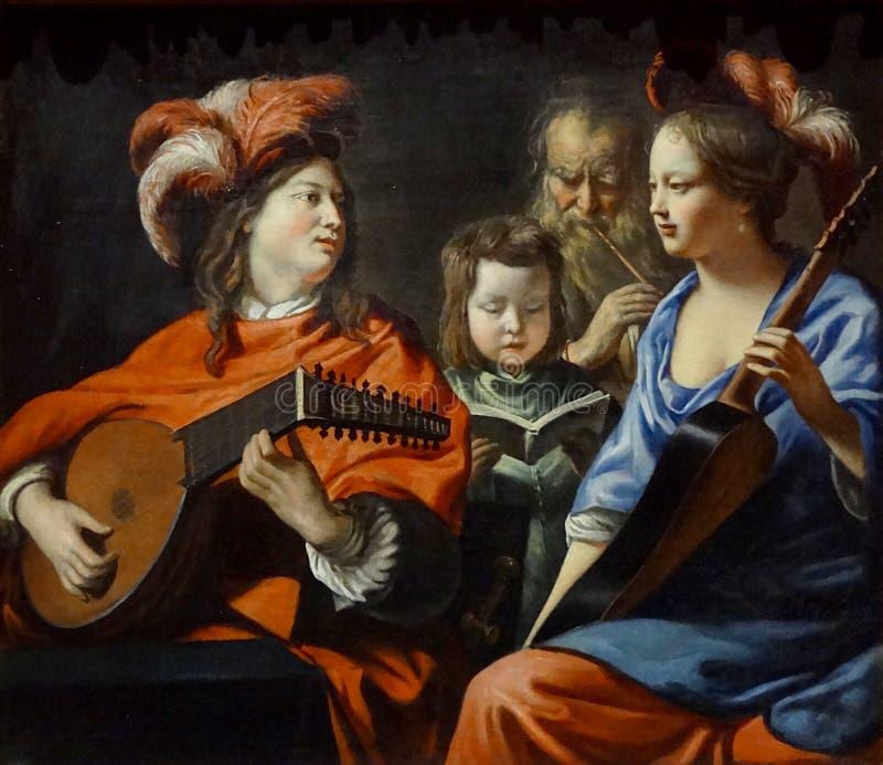 """"""" ; Le concert"""" ; , Mathieu Le Nain, vers 1655-1660 Musée d' ; art et d' ; l'archéologie du paye De Laon image libre de droits"""