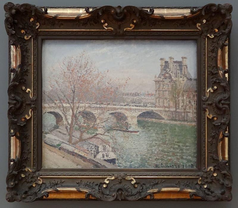 """"""";巴黎、le Pont皇家和le Pavillon de flore"""";卡米耶・毕沙罗,1903年 免版税库存照片"""