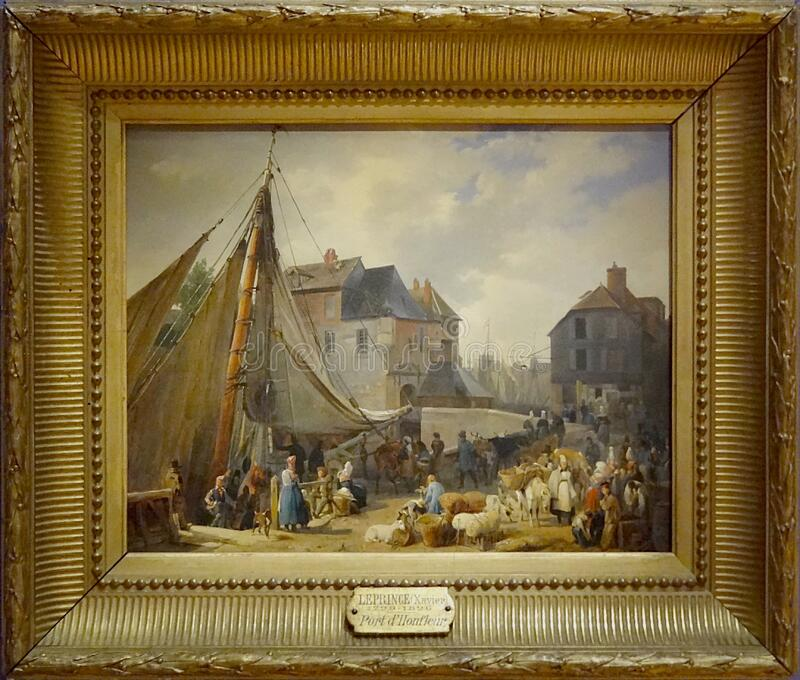 """"""" ; Le port de Honfleur, l' ; DES bestiaux"""" d'embarquement ; , Auguste-Xavier Leprince, 1823 images libres de droits"""