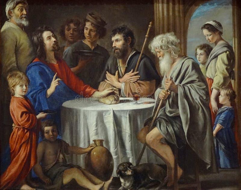 """"""" ; Pèlerins d' de Les ; ¼ s"""" d'Emmaà ; , Mathieu Le Nain, vers 1645 Musée du Louvre photographie stock libre de droits"""
