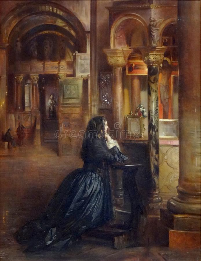 """"""" ; Prière à d'en de Femme St Marc de Venise"""" ; , attribué à Ernest Meissonier images stock"""
