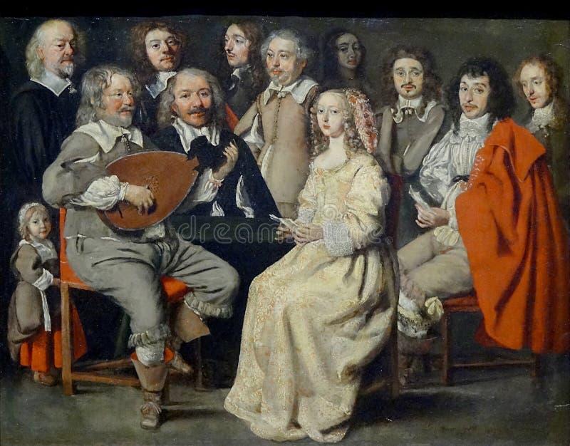""""""" ; Réunion musicale"""" ; , Antoine Le Nain, 1642 Musée du Louvre photos stock"""