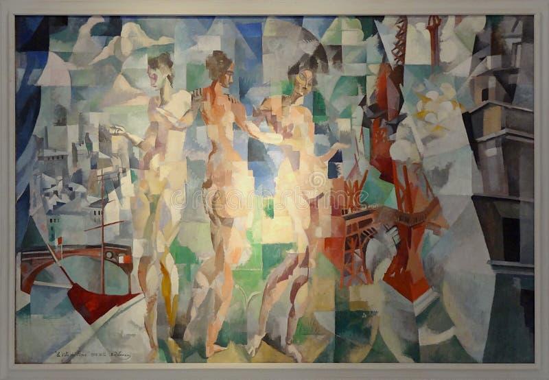 """"""" ; Ville de Paris"""" de La ; , Robert Delaunay, 1910-1912 Musée d' ; Art de la ville de moderne Paris image libre de droits"""
