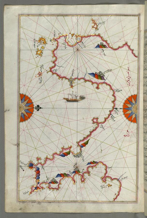 Φωτισμένος κόλπος ( Messiniakos χειρογράφων Κόλπος Messini) , βιβλίο FR, OM στη ναυσιπλοΐα, κα Μουσείων Τέχνης Walters W  στοκ εικόνες με δικαίωμα ελεύθερης χρήσης