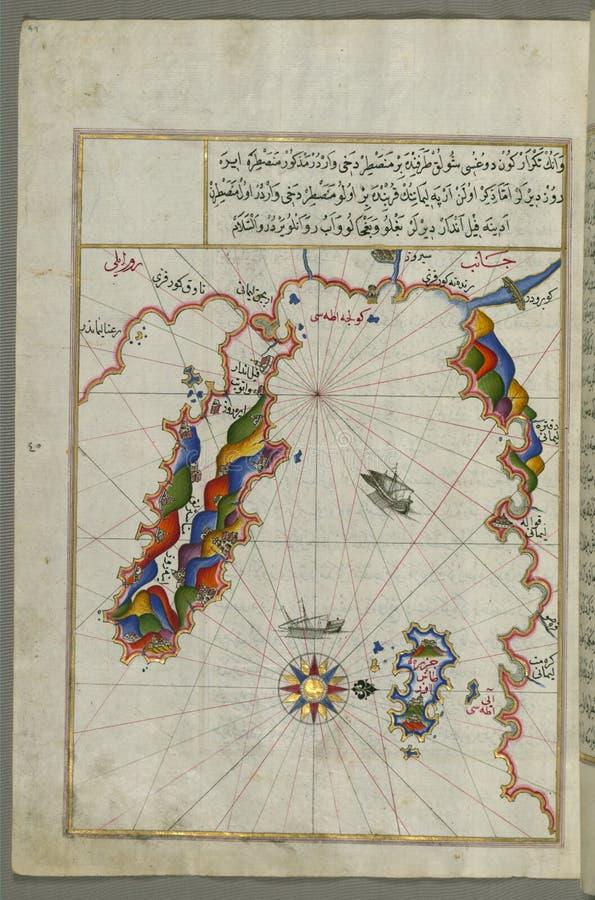 Φωτισμένος χάρτης χειρογράφων της περιοχής δυτικά του νησιού της Θάσου ( Taşöz)  και η χερσόνησος Ayion Oros, από το βι στοκ εικόνες με δικαίωμα ελεύθερης χρήσης