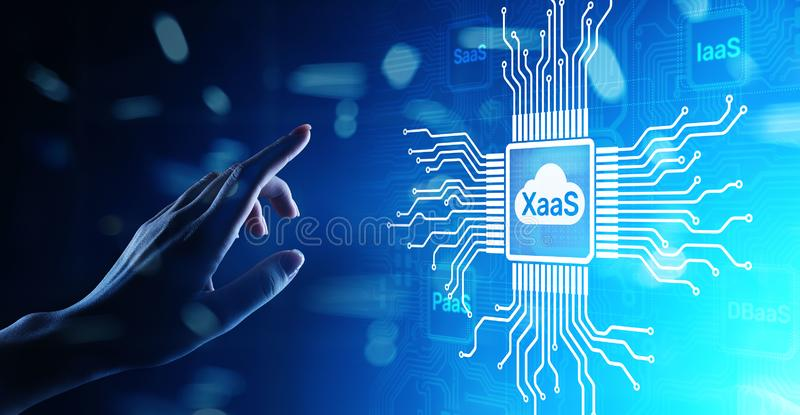 XaaS PaaS SaaS IaaS DBaaS Infrasstructure Service Data Base Platform development solution for business. XaaS PaaS SaaS IaaS DBaaS Infrasstructure Service Data stock images