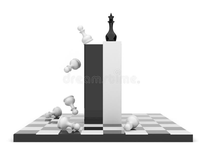 Xadrez 3D. Estratégia empresarial. Isolado ilustração do vetor