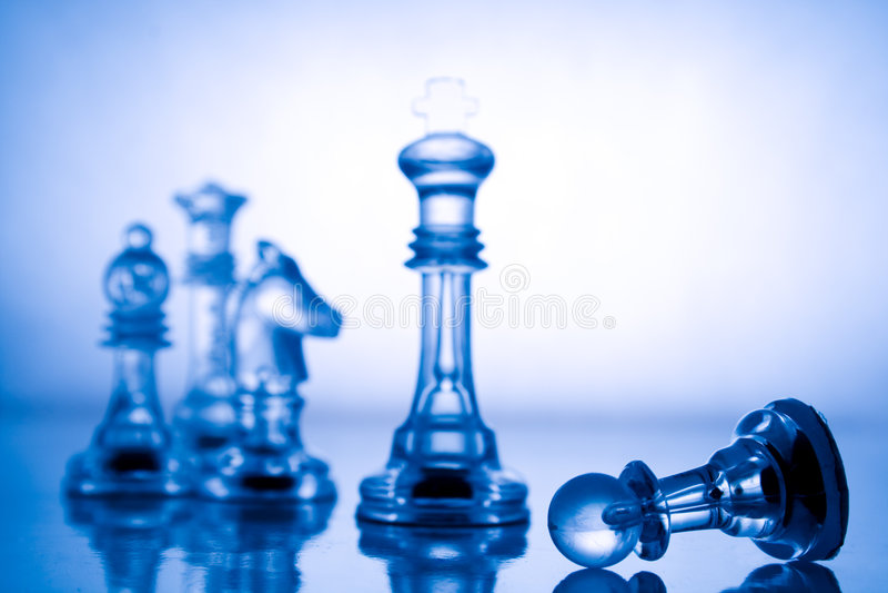 Xadrez azul transparente imagens de stock royalty free