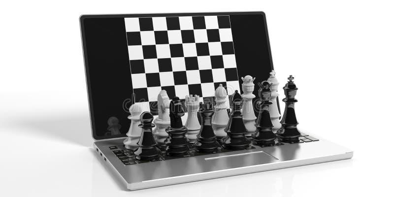 xadrez da rendição 3d na tela do portátil ilustração stock