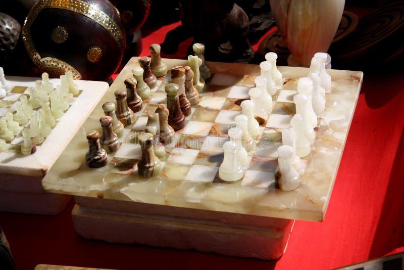 Xadrez de mármore antiga fotos de stock royalty free