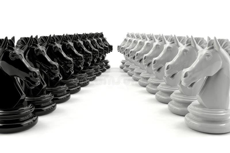 A xadrez do cavaleiro preto e a xadrez do cavaleiro branco confrontam-se imagens de stock