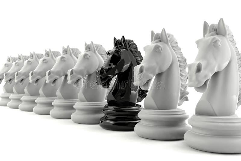 Xadrez do cavaleiro preto entre a xadrez do cavaleiro branco foto de stock royalty free