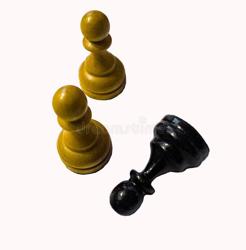 A xadrez em um fundo branco penhora branco e preto fotografia de stock royalty free