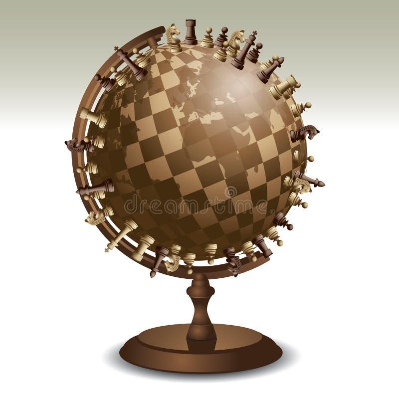 Xadrez em um globo ilustração stock