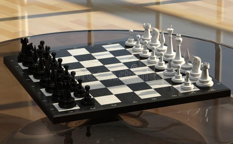 Xadrez em uma tabela de vidro ilustração do vetor