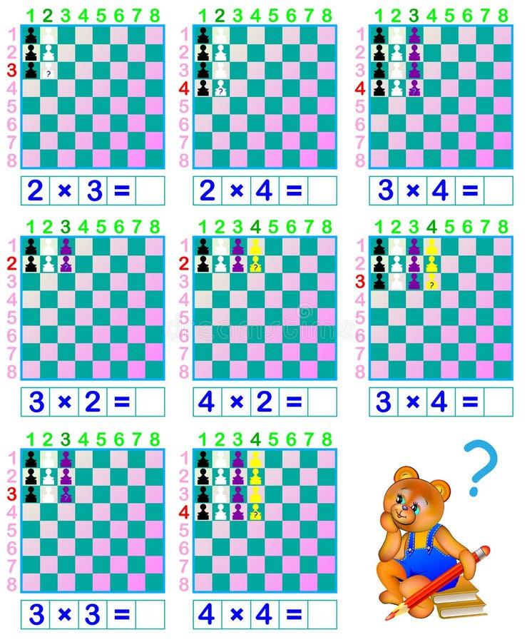 Xadrez engraçada Exercícios para crianças para estudar a tabela de multiplicação ilustração stock