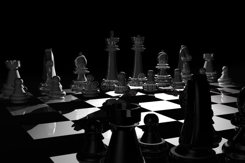 Xadrez na noite ilustração royalty free