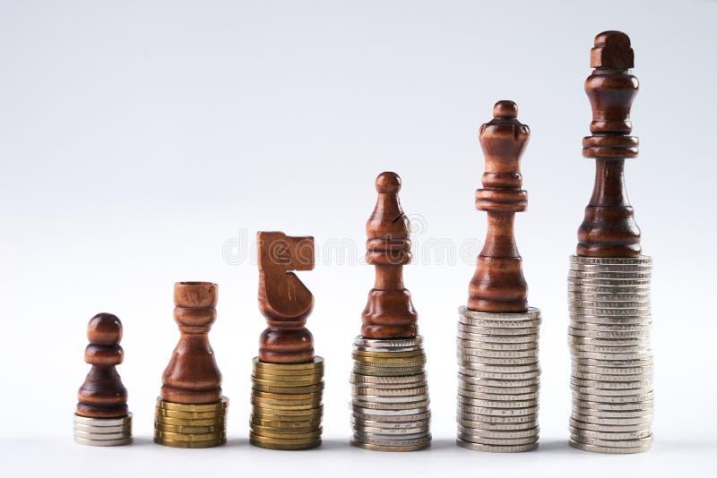 A xadrez preta figura a posição nas moedas que significam o crescimento do poder e da carreira fotografia de stock