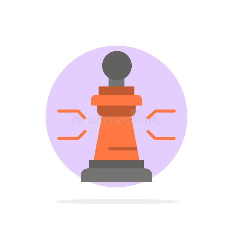 Xadrez, vantagem, negócio, figuras, jogo, estratégia, ícone liso da cor do fundo do círculo do sumário da tática ilustração royalty free