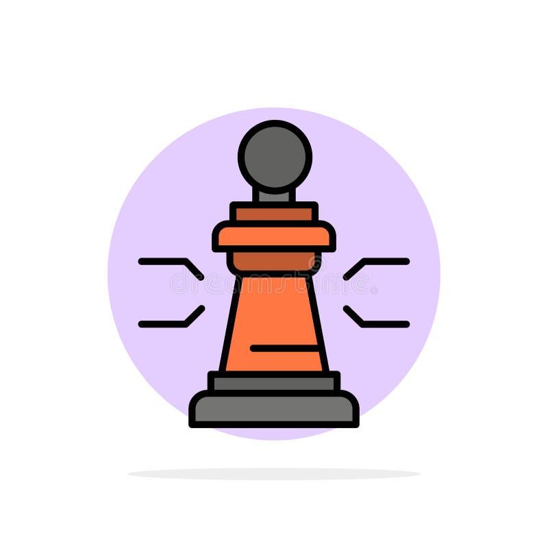 Xadrez, vantagem, negócio, figuras, jogo, estratégia, ícone liso da cor do fundo do círculo do sumário da tática ilustração do vetor