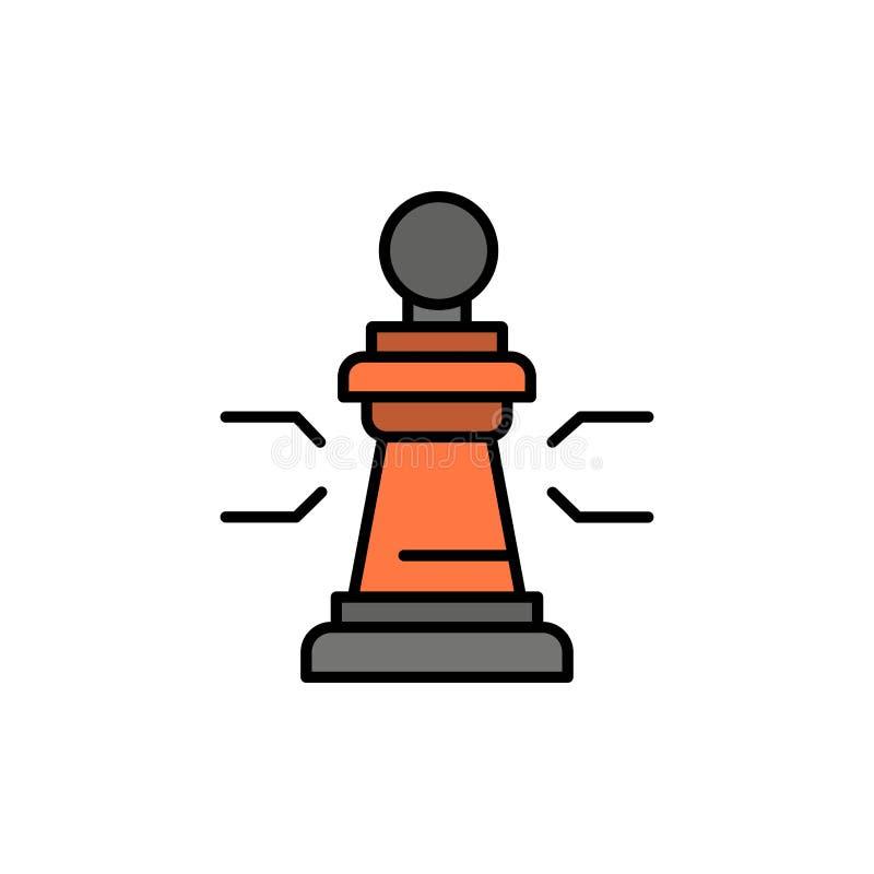 Xadrez, vantagem, negócio, figuras, jogo, estratégia, ícone liso da cor da tática Molde da bandeira do ícone do vetor ilustração stock