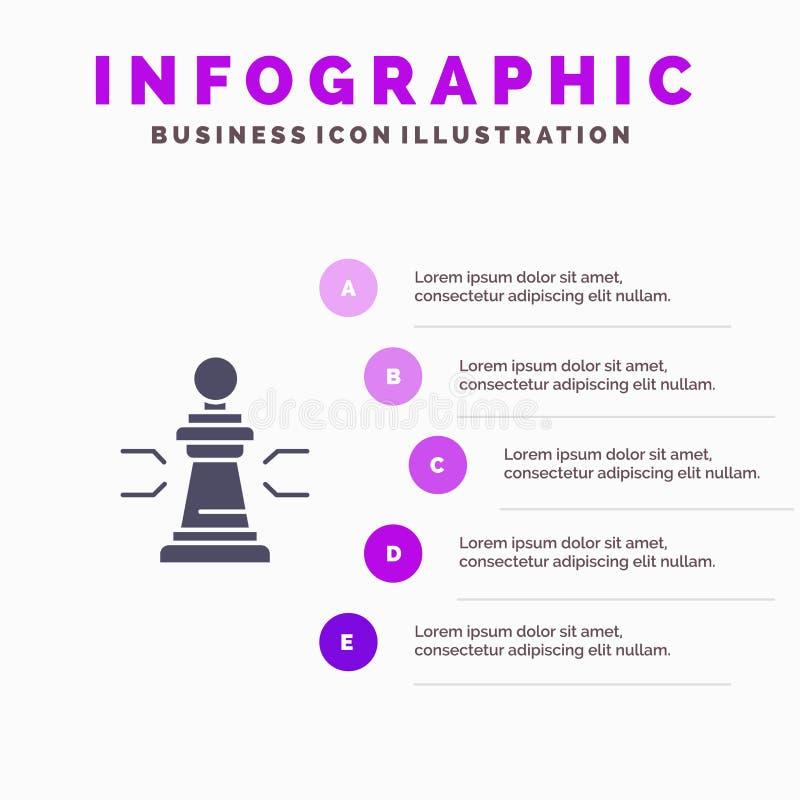 Xadrez, vantagem, negócio, figuras, jogo, estratégia, fundo contínuo da apresentação das etapas de Infographics 5 do ícone da tát ilustração do vetor