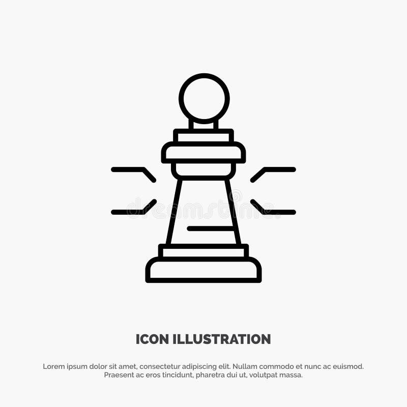 Xadrez, vantagem, negócio, figuras, jogo, estratégia, linha vetor da tática do ícone ilustração do vetor