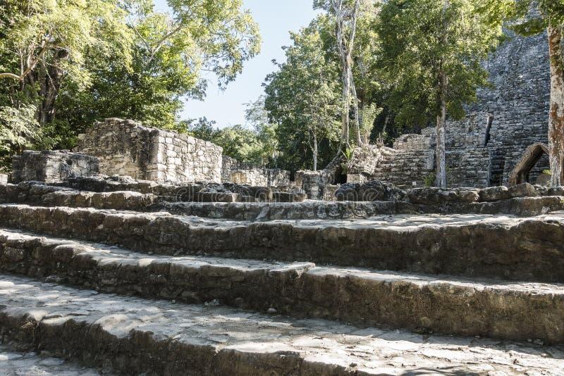 Xaibe pyramid in Coba, Mexico stock photography