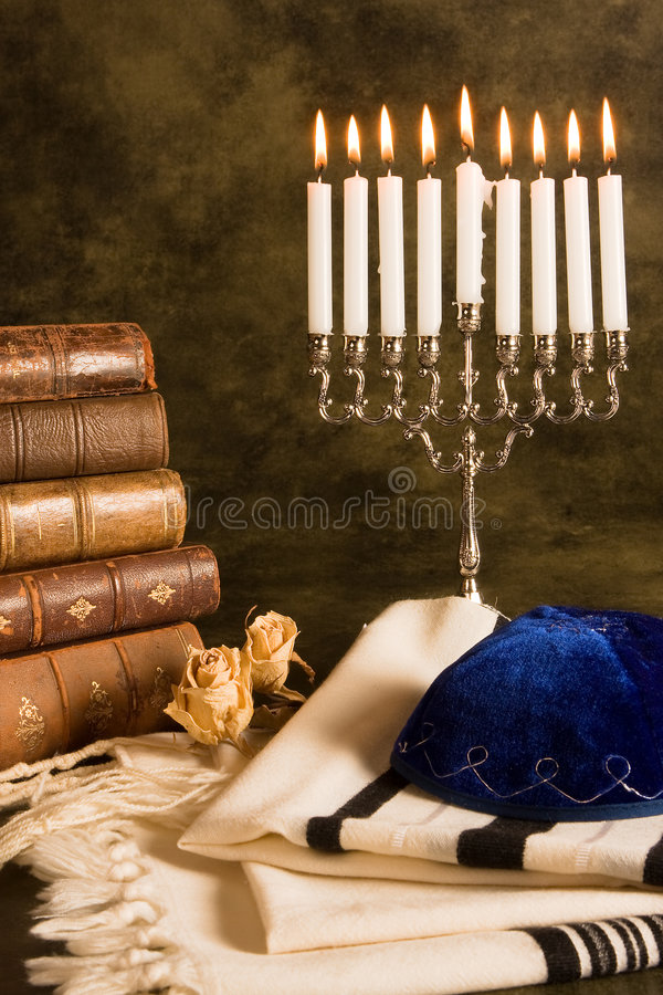 Xaile de oração e hanukkah foto de stock