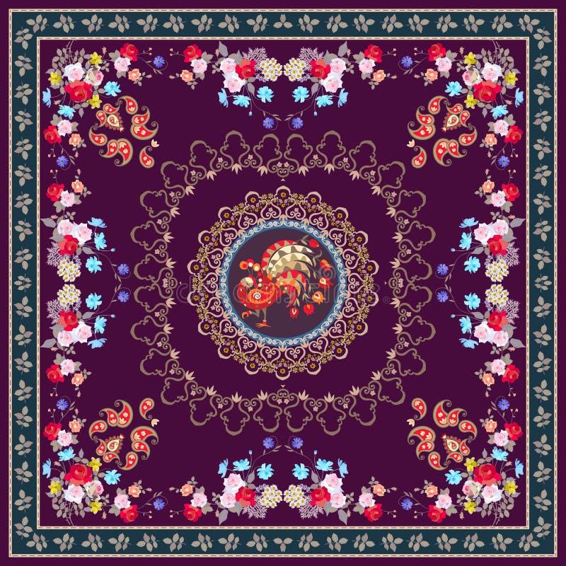Xaile festivo da toalha de mesa ou do vintage com o ornamento mágico do pavão, o floral e do paisley, beira decorativa ilustração do vetor