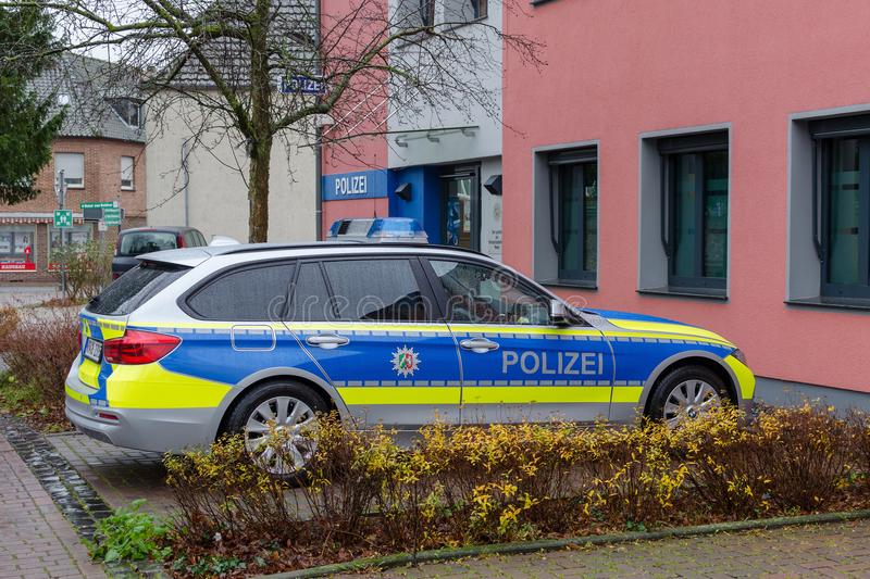 Xanten, Germany - December 27, 2017 police car, polizei. Xanten, Germany - December 27, 2017 police car and office royalty free stock photos