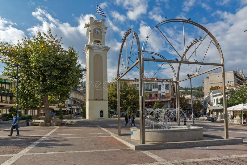 Clock tower in old town of Xanthi, East Macedonia and Thrace, Greece. XANTHI, GREECE - SEPTEMBER 23, 2017: Clock tower in old town of Xanthi, East Macedonia and stock images