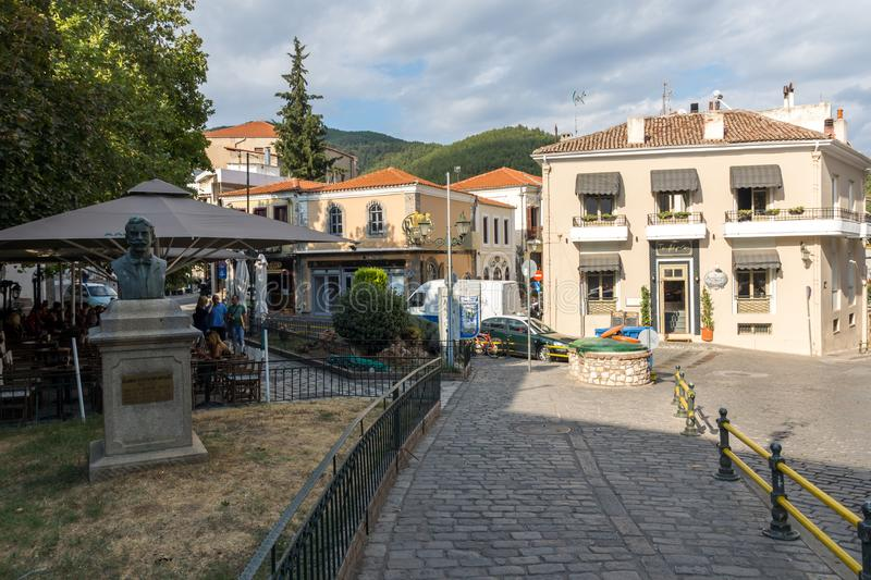 Street and old houses in old town of Xanthi, East Macedonia and Thrace, Greece. XANTHI, GREECE - SEPTEMBER 23, 2017: Street and old houses in old town of Xanthi stock photography