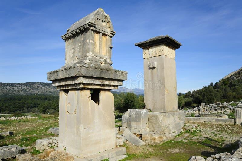 Xanthos fördärvar, Turkiet royaltyfria foton