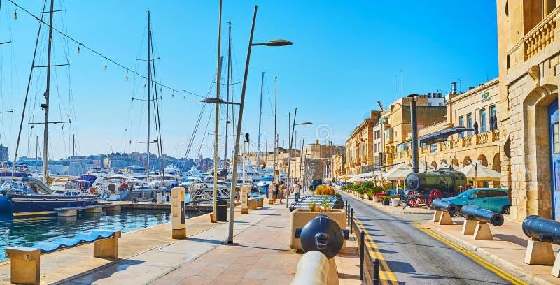 Xatt IlForn散步,比尔古,马耳他全景  免版税库存照片