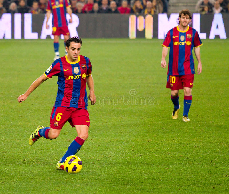 Xavi en Messi (FC Barcelona) royalty-vrije stock afbeelding
